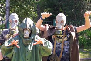 ОБЖ и противогазы в детском военно-спортивном лагере